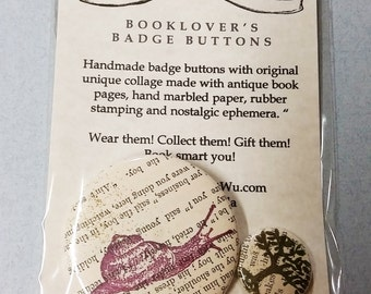 """Booklover's Badge Buttons 2 1/4"""" and 1"""""""