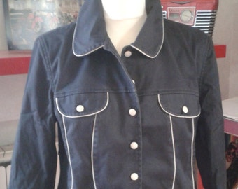 navy jacket with white trim ize M