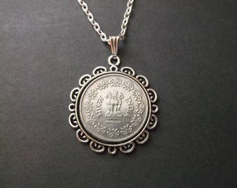 India  Coin Necklace India  Coin Pendant in Pendant Tray-