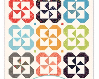 Pinwheel Posies Quilt Pattern - A Quilting Life Pattern - Sherri McConnell - Fat Quarter Pattern