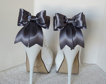 Gray Wedding Shoe Clips,  Bridal Shoe Clips, Satin Bow Shoe Clips, Shoe CLips,  Shoe Clips for Wedding Shoes, Bridal Shoes, MANY COLORS