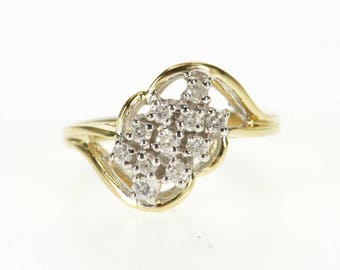 14k 0.33 Ctw Diamond Inset Wavy Cluster Scalloped Ring Gold