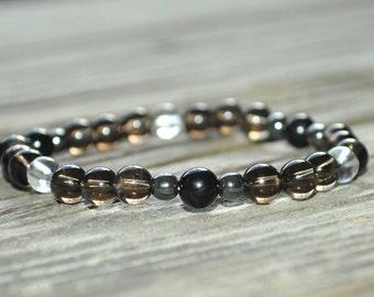 Protection Mala Bracelet, Tourmaline, Smoky Quartz, Hematite, Base Chakra, Yoga Bracelet, Crystal Healing Bracelet, Meditation Bracelet