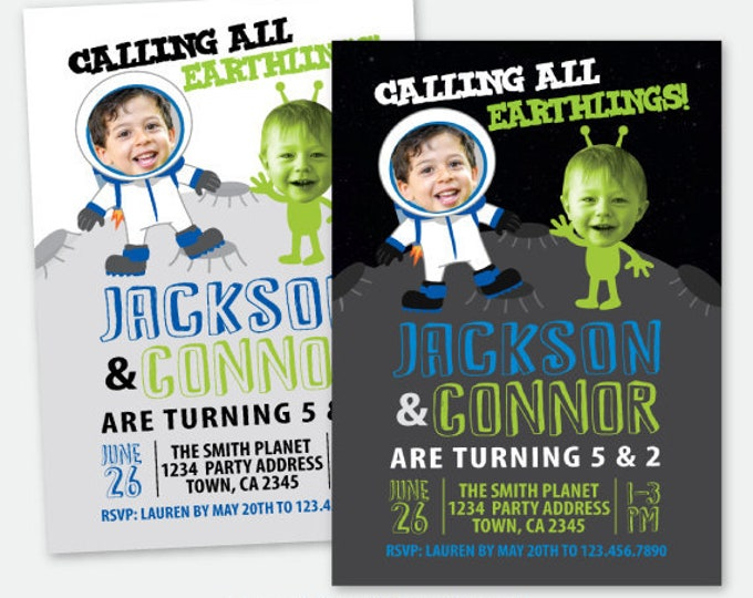 Astronaut and Alien Siblings Invitation with Photo, Outer Space Birthday Party, Moon Invitation, Personalized Digital Invitation, 2 Options