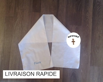 Baptism 0-2 years scarf, embroidered with child's name