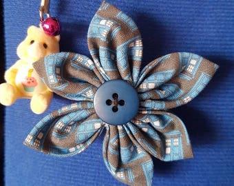 Doctor Who Tardis inspired flower brooch