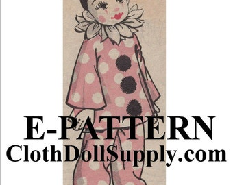 E-Pattern – Pierrot Clown Doll Sewing Pattern #EP 950