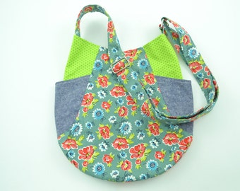 Pretty Floral Cotton Fabric Tote, School Bag, Women's Bag, Fabric Tote Bag, Handmade Tote Bag