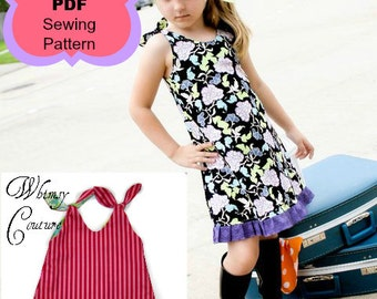 A-line Tunic and Dress Sewing Pattern by Whimsy Couture Reversible Or One Sided 12 m through 10 girls PDF Instant Download