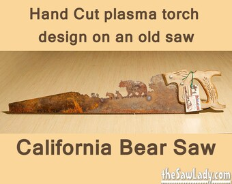 Metal Art Bear design - Hand cut (plasma torch) hand saw Wall Decor   Garden Art   Recycled Art   Repurposed  - Made to Order