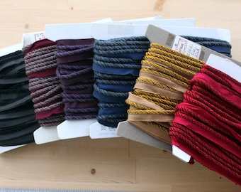 """D'Kei 1/4"""" braided cording with lip - 6 colors available - 100% Viscose - Perfect for Pillows, Home Decor, Drapery, Bedding"""