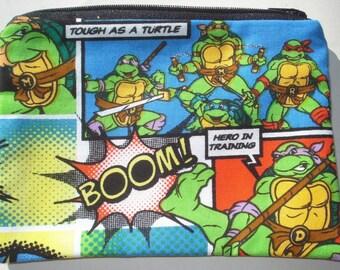 SALE Teenage Mutant Ninja Turtles Zipper Pouch - TMNT, Turtle Power.