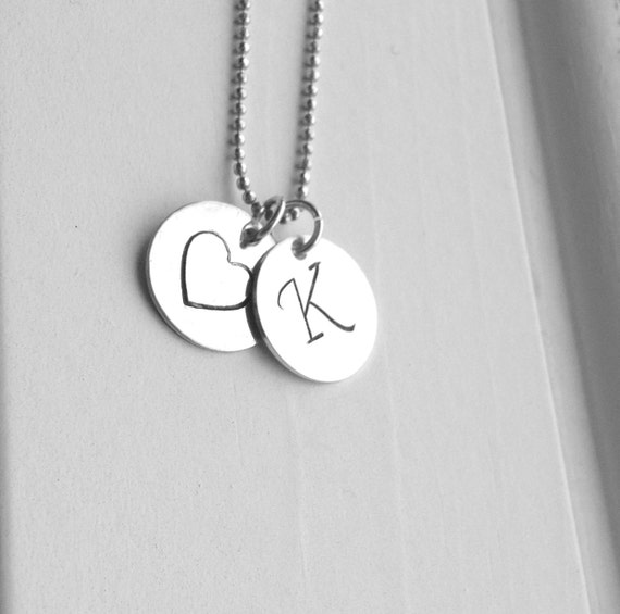 K Heart Necklace Letter K Necklace Initial Necklace Heart