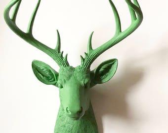GRASS GREEN, XL Deer Head, Faux Taxidermy, Stag Head Wall Mount, Faux Animal Head Wall Hanging, Green deer head, Faux Deer Head, Deer Head,