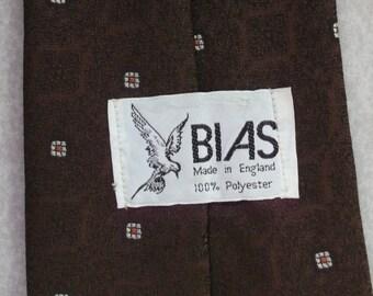 Vintage wide tie 1970s by BIAS Made in England dark brown retro funky necktie