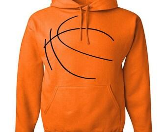 Custom Personalized Basketball Pullover Hooded Sweatshirt (Unisex Adult Hoodie) - Orange / Black