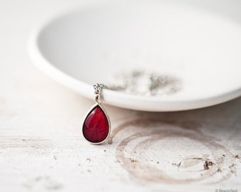 Red rose necklace, Mothers day gift, Ruby Red necklace, Gift for mom, Silver Teardrop necklace, Silver necklace, Red Teardrop necklace