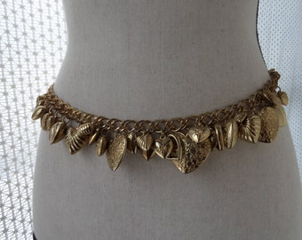 Chain Belt with Heart Charms,  Long Necklace, 38 inch Adjustable, Vintage
