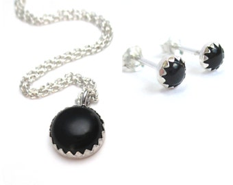 Black Onyx Necklace Set with Black Onyx Earrings and Pendant Necklace in Sterling Silver