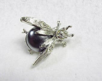 Jelly belly bumble bee silver metal rhinestone brooch pin