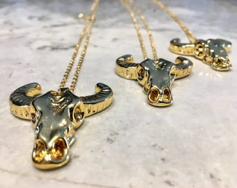 Burning man longhorn necklace Buffalo Head Necklace buffolo skull necklace bohemian necklace boho chic necklace