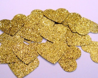 100 Gold Glitter Heart Confetti Gold Birthday Confetti  Gold Wedding Confetti  Gold Bridal Shower Decorations Gold Glitter Confetti Gold