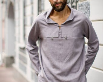 Minimalist unique shirt | button-down shirt | eco-friendly business casual | men's bamboo hemp | long-sleeve shirt | asian style shirt