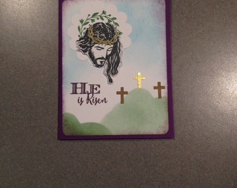 He is Risen Easter Card with Jesus Christ.  3 Crosses card.  Christian, Spiritual Card. Jesus on Calvary.