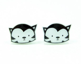 Black Cat Earrings | Sterling Silver Posts Stud | Gifts For Her