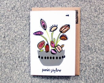 penis fly trap, fun, rude blank greeting card.