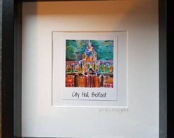 City Hall polaroid art framed print