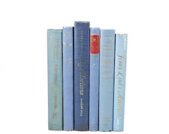 Blue Pastel Decorative Books, Muted Antique BOoks, Rustic BOok Decor, Farmhouse chic, Old Books Shabby CHic Wedding Centerpiece,  Book Set