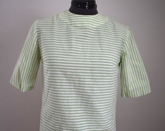 Vintage Mint Green and White Striped Button Back Top XS S