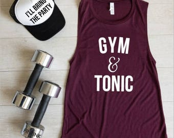 Workout Tank Top, Gym And Tonic, Fitness Muscle Shirt, Funny Crossfit Shirt, Workout Clothes, Gym Tank, Exercise Shirt, Gym & Tonic