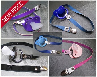 AB/DL Adult Size Pacifier with Fixed Exotic Calf, Speckled or Patent Leather Paci Holder Clip Strap