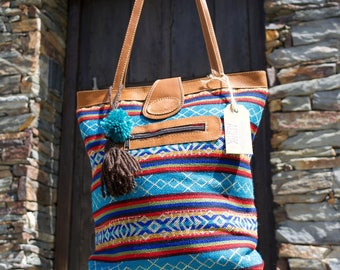 Blue ethnic tote bag, Boho tote bag, Blue ethnic bag, Woven fabric bag, Blue Boho bag