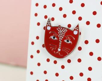 Yayoi Kusame (Catsama) Artist Cat Enamel Pin