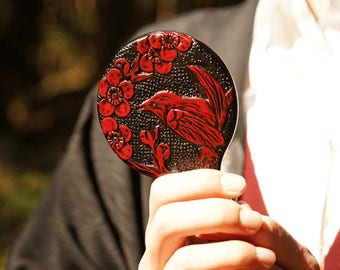 TE-KAGAMI -uguisu- with your initial, hand mirror, wood Handmade, order made, made in japan