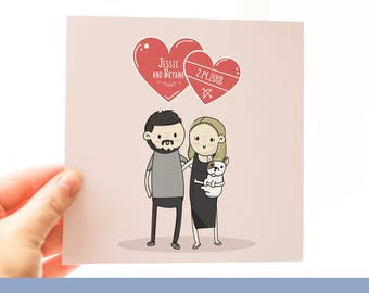 Valentine's Day Anniversary Custom Portrait art illustration gift for First Anniversary Paper Gift Physical Copy and Digital/Print yourself!