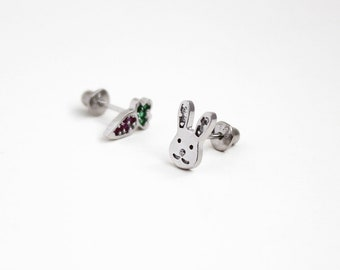 925 Sterling Silver Cubic Rabbit and Carrot Baby Girls Children Screwback Earrings