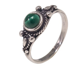 Malachite Ring, Sterling Silver Ring, Green Stone Ring, Silver Ring, Dainty Ring, Gemstone Ring, Boho Ring , Statement Ring, Free Shipping