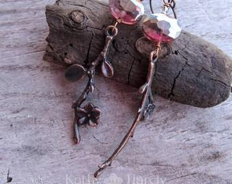Winter Berries | Sticks | Flowers | Leaves | Woodland Wedding | Purple Czech Glass | Nature Lover | Earthy | Bridesmaid | Earrings under 20