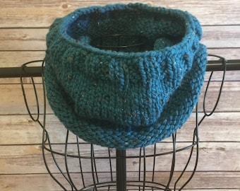 Teal Hand Knit Cowl