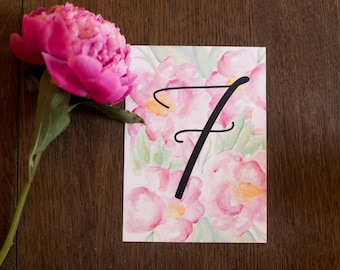 Pink Peony Printable Watercolor Wedding Table Numbers | Instant Download | Digital | Peonies Table Cards, Set of 20