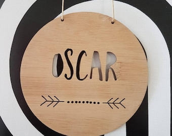 Personalised Wooden Wall / Door Hanging - Dots Arrow 14cm /19.5cm-wall hanging-wall art-sign-kids door sign-kids gift-baby gift-lasercut