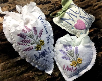 "MOM/MUM""S LAVENDER Sachets.For the 4x4 hoop Machine Embroidery Designs"