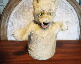 Cute 1950's Vintage Mohair Excelsior Straw Stuffed White Wolf Glove Animal Hand Puppet  Glass Eyes Unmarked Steiff Dog