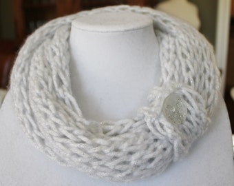 Child Size White and Silver Finger Knit Infinity Scarf