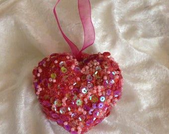 SALE- Beaded Heart Decoration, Ornament, Embellishment, Decoration for Party Decor or Gifts