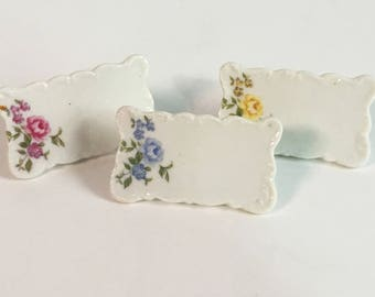 RESERVED for Terry - Vintage Ceramic Placecard Holders - Set of 6 Place Card Holders - Pink, Yellow and Blue Flowers with Green Leaves
